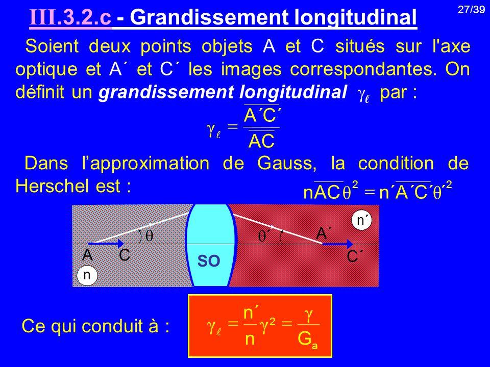27/39 Soient deux points objets A et C situés sur l'axe optique et A΄ et C΄ les images correspondantes. On définit un grandissement longitudinal par :