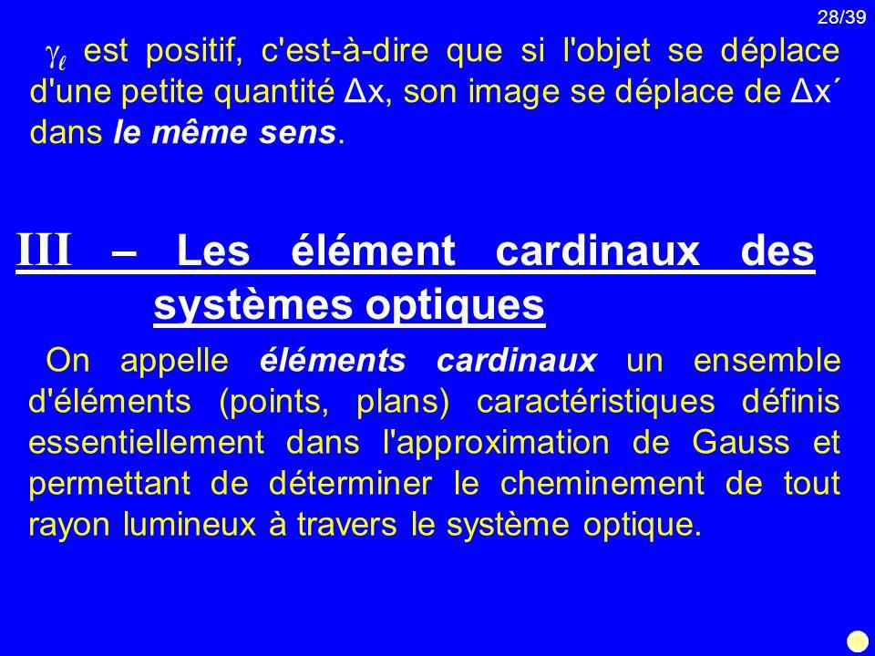 28/39 On appelle éléments cardinaux un ensemble d'éléments (points, plans) caractéristiques définis essentiellement dans l'approximation de Gauss et p