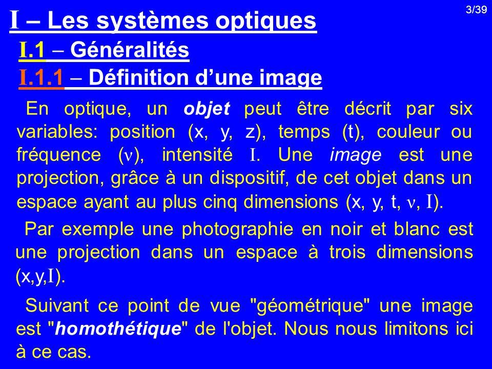 3/39 I.1 Généralités I.1.1 Définition dune image I – Les systèmes optiques En optique, un objet peut être décrit par six variables: position (x, y, z)
