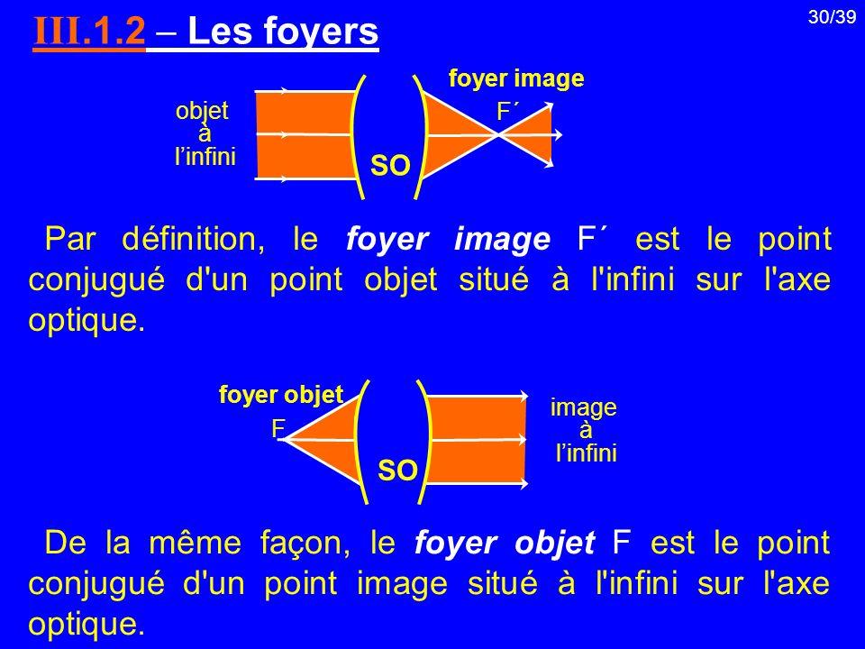 30/39 III.1.2 Les foyers objet à linfini F΄F΄ F foyer objet image à linfini foyer image SO Par définition, le foyer image F΄ est le point conjugué d'u