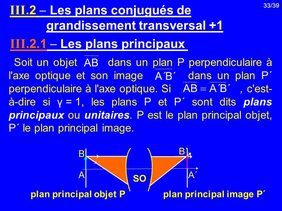 33/39 Soit un objet dans un plan P perpendiculaire à l'axe optique et son image dans un plan P΄ perpendiculaire à l'axe optique. Si, c'est- à-dire si