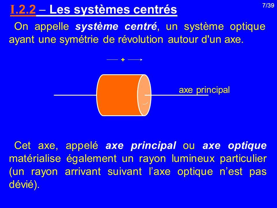 7/39 On appelle système centré, un système optique ayant une symétrie de révolution autour d'un axe. I.2.2 Les systèmes centrés axe principal + Cet ax