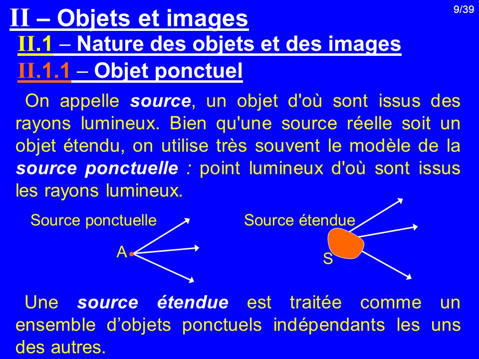 9/39 On appelle source, un objet d'où sont issus des rayons lumineux. Bien qu'une source réelle soit un objet étendu, on utilise très souvent le modèl