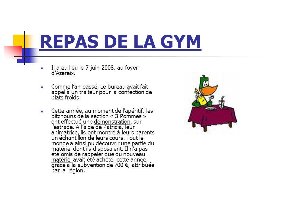 REPAS DE LA GYM Il a eu lieu le 7 juin 2008, au foyer dAzereix. Comme lan passé, Le bureau avait fait appel à un traiteur pour la confection de plats
