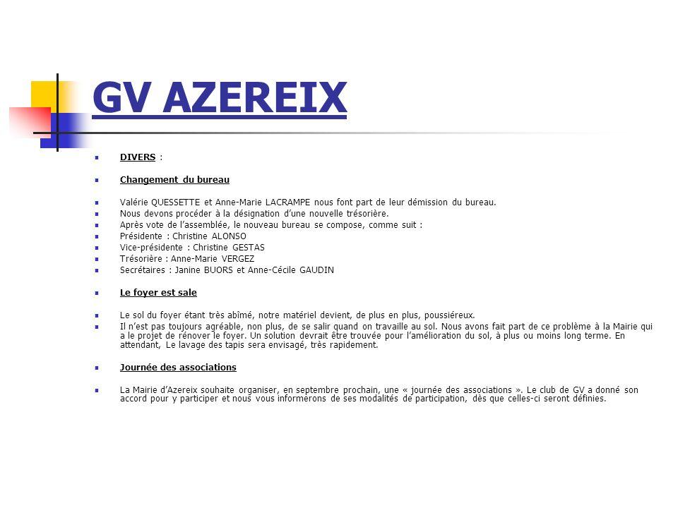 GV AZEREIX DIVERS : Changement du bureau Valérie QUESSETTE et Anne-Marie LACRAMPE nous font part de leur démission du bureau. Nous devons procéder à l