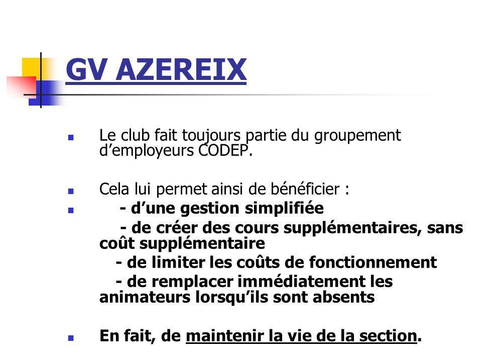 GV AZEREIX Le club fait toujours partie du groupement demployeurs CODEP. Cela lui permet ainsi de bénéficier : - dune gestion simplifiée - de créer de