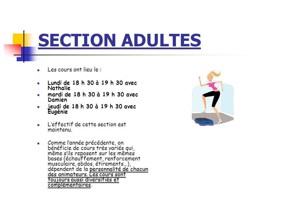 SECTION ADULTES Les cours ont lieu le : Lundi de 18 h 30 à 19 h 30 avec Nathalie mardi de 18 h 30 à 19 h 30 avec Damien jeudi de 18 h 30 à 19 h 30 ave