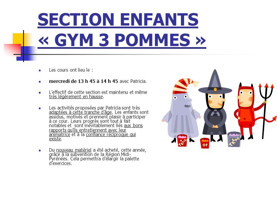 SECTION ENFANTS (GYM « 3 POMMES » Cependant, la même contrainte de ce cours persiste : la présence indispensable dun adhérent(e) pour aider Patricia est difficile à assurer.