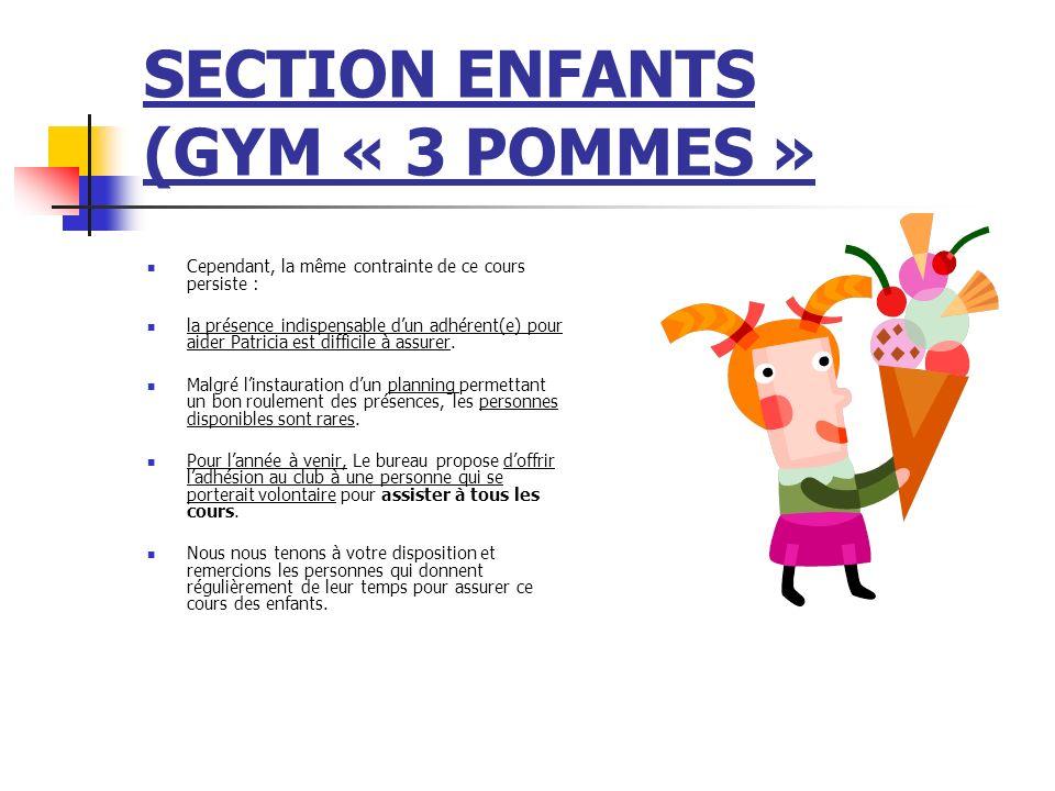 SECTION ENFANTS (GYM « 3 POMMES » Cependant, la même contrainte de ce cours persiste : la présence indispensable dun adhérent(e) pour aider Patricia e