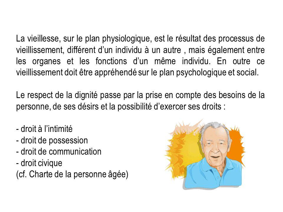 La vieillesse, sur le plan physiologique, est le résultat des processus de vieillissement, différent dun individu à un autre, mais également entre les