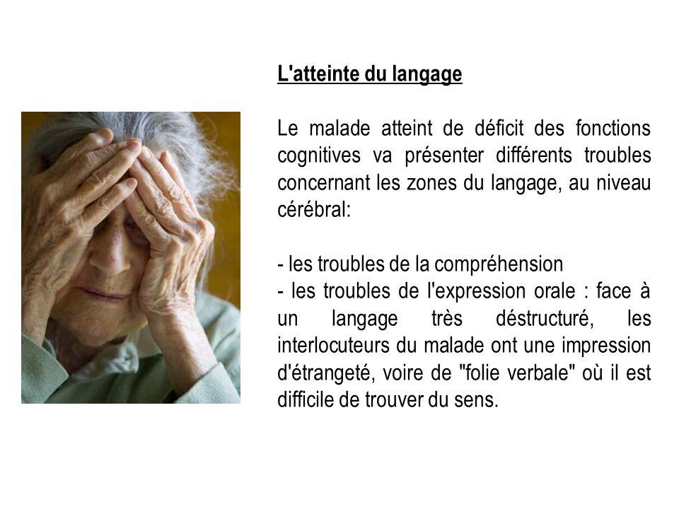 L'atteinte du langage Le malade atteint de déficit des fonctions cognitives va présenter différents troubles concernant les zones du langage, au nivea