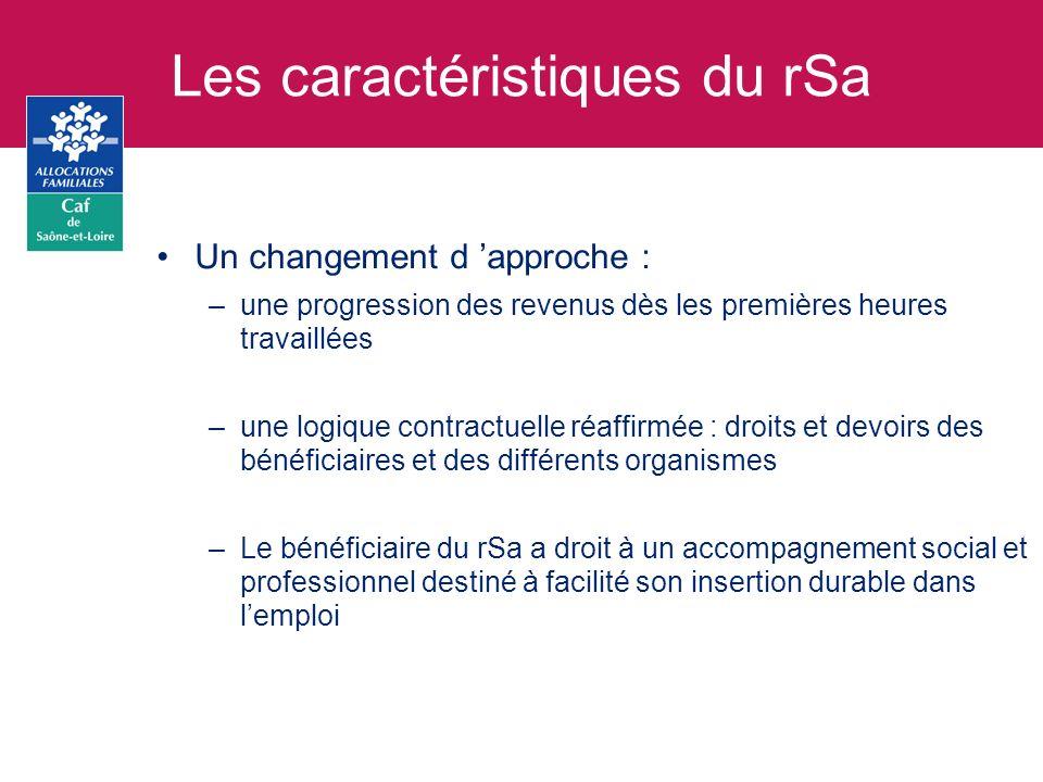Les bénéficiaires du rSa Ils se répartissent en trois catégories : – rSa «socle» : déjà connus des Caf et aujourdhui bénéficiaires du Rmi ou de lApi Estimation nationale = 1,2 million de bénéficiaires – rSa «chapeau» : déjà connus des Caf au titre dune autre prestation (aide au logement, allocation de base, rentrée scolaire…) Estimation nationale = 1 million de bénéficiaires – Futurs rSa « chapeau » : pas encore connus des Caf et pour lesquels une ouverture de dossier sera indispensable Estimation nationale = 0,9 million de bénéficiaires