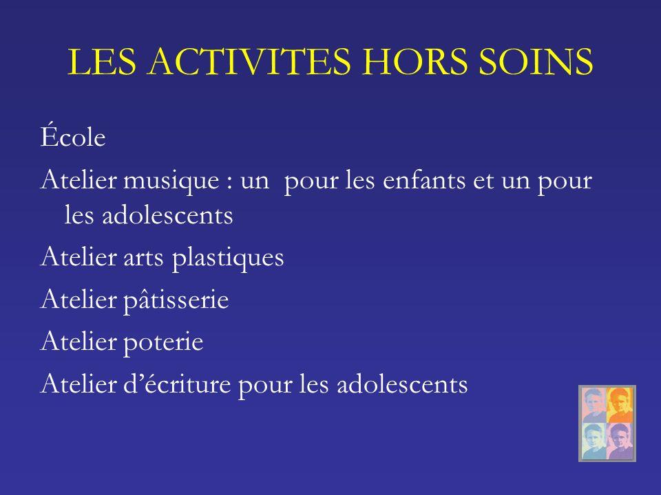 LES ACTIVITES HORS SOINS École Atelier musique : un pour les enfants et un pour les adolescents Atelier arts plastiques Atelier pâtisserie Atelier pot