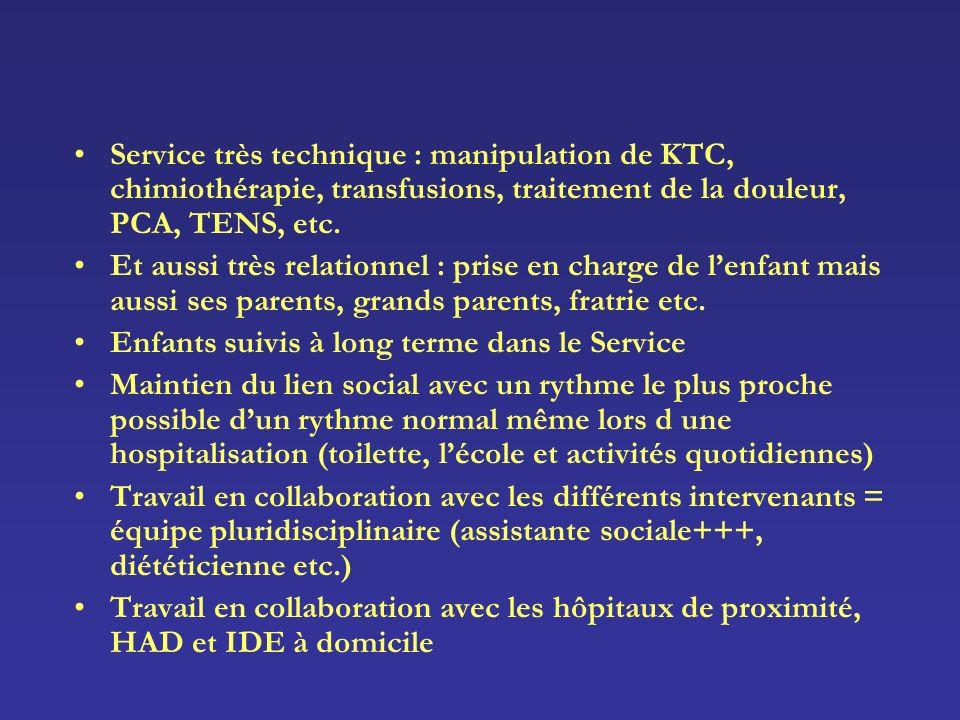Service très technique : manipulation de KTC, chimiothérapie, transfusions, traitement de la douleur, PCA, TENS, etc.