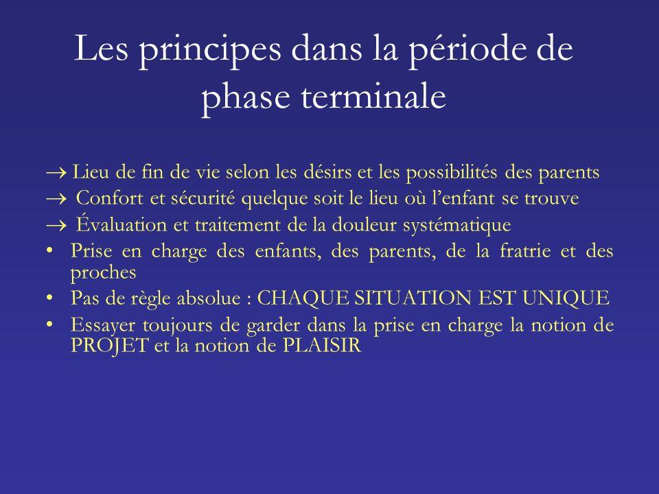 Les principes dans la période de phase terminale Lieu de fin de vie selon les désirs et les possibilités des parents Confort et sécurité quelque soit