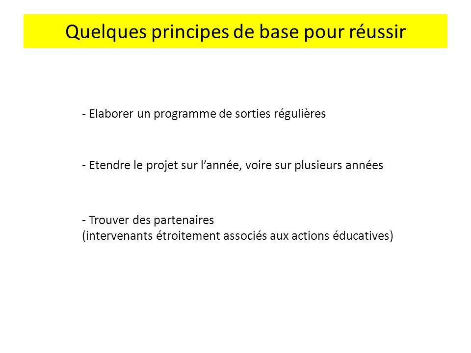 Quelques principes de base pour réussir - Trouver des partenaires (intervenants étroitement associés aux actions éducatives) - Elaborer un programme d