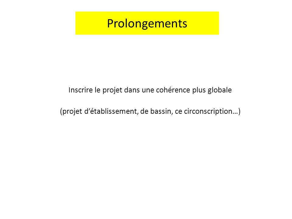 Inscrire le projet dans une cohérence plus globale (projet détablissement, de bassin, ce circonscription…) Prolongements