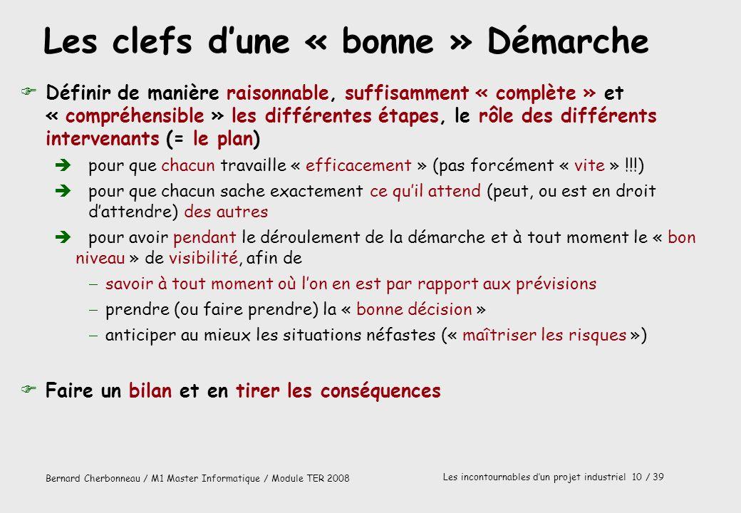 Bernard Cherbonneau / M1 Master Informatique / Module TER 2008 Les incontournables dun projet industriel 10 / 39 Les clefs dune « bonne » Démarche FDé
