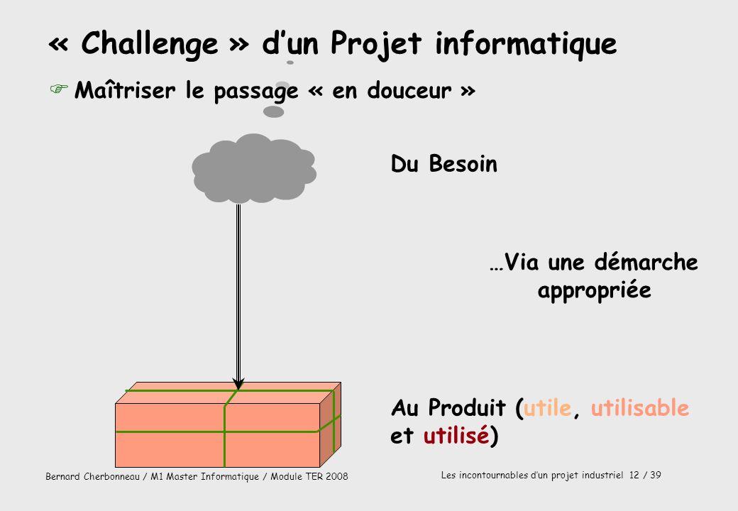 Bernard Cherbonneau / M1 Master Informatique / Module TER 2008 Les incontournables dun projet industriel 12 / 39 Du Besoin Au Produit (utile, utilisab