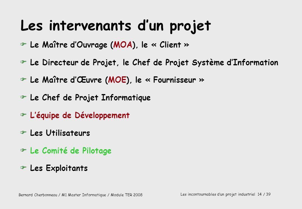Bernard Cherbonneau / M1 Master Informatique / Module TER 2008 Les incontournables dun projet industriel 14 / 39 Les intervenants dun projet FLe Maîtr
