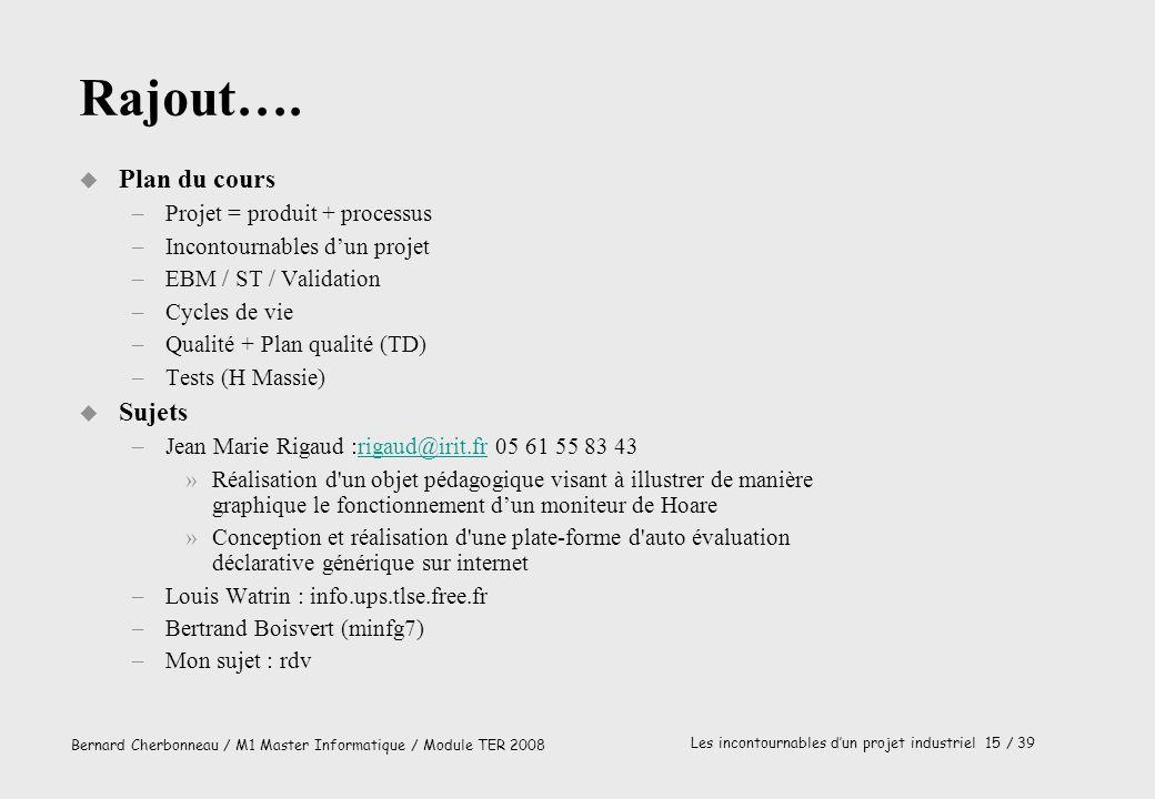 Bernard Cherbonneau / M1 Master Informatique / Module TER 2008 Les incontournables dun projet industriel 15 / 39 Rajout…. u Plan du cours –Projet = pr