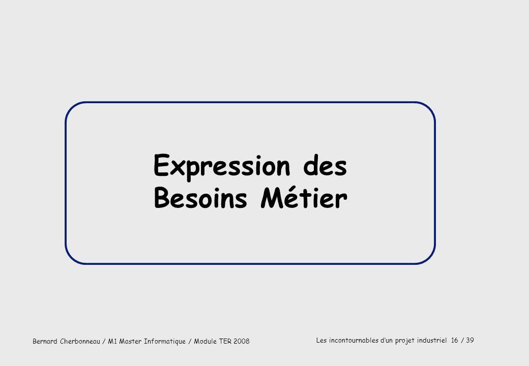 Bernard Cherbonneau / M1 Master Informatique / Module TER 2008 Les incontournables dun projet industriel 16 / 39 Expression des Besoins Métier