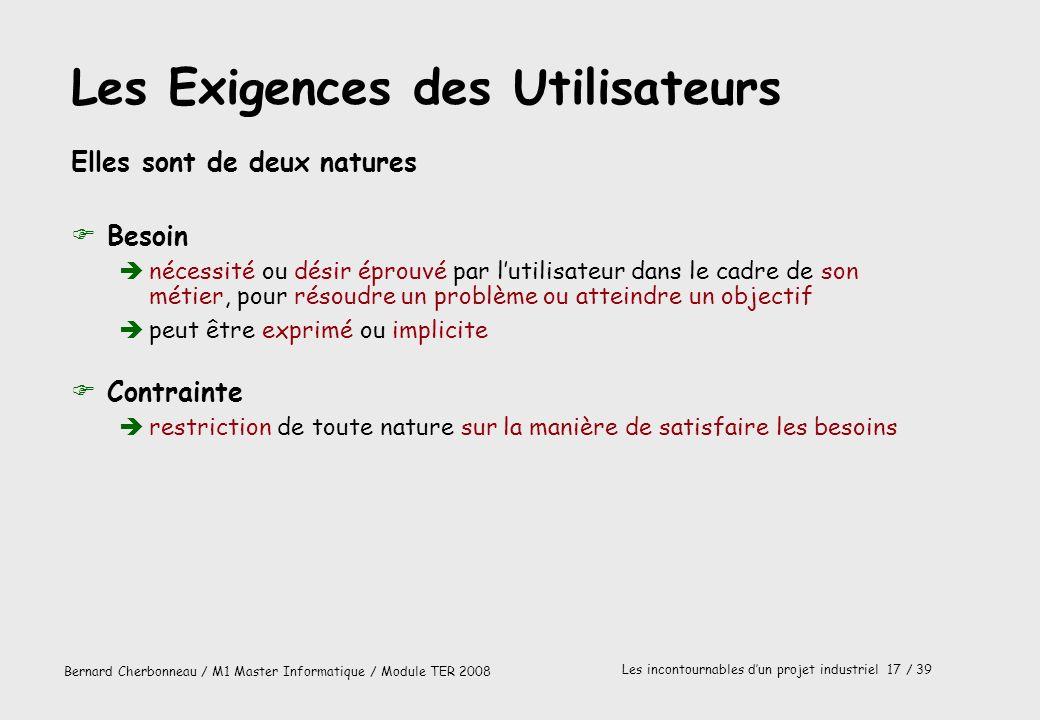 Bernard Cherbonneau / M1 Master Informatique / Module TER 2008 Les incontournables dun projet industriel 17 / 39 Les Exigences des Utilisateurs Elles