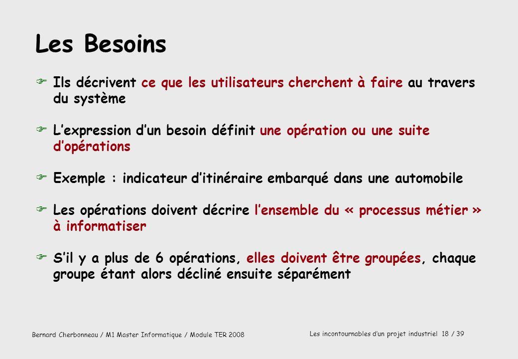 Bernard Cherbonneau / M1 Master Informatique / Module TER 2008 Les incontournables dun projet industriel 18 / 39 Les Besoins FIls décrivent ce que les