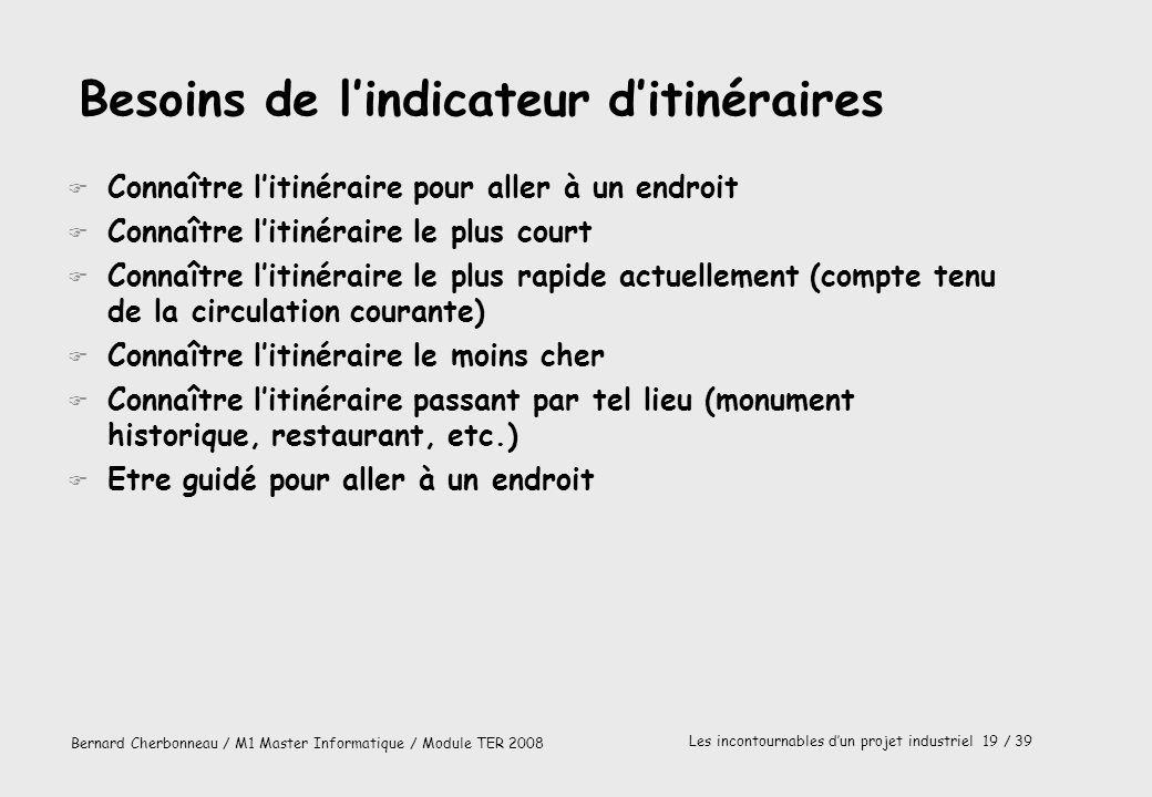 Bernard Cherbonneau / M1 Master Informatique / Module TER 2008 Les incontournables dun projet industriel 19 / 39 Besoins de lindicateur ditinéraires F