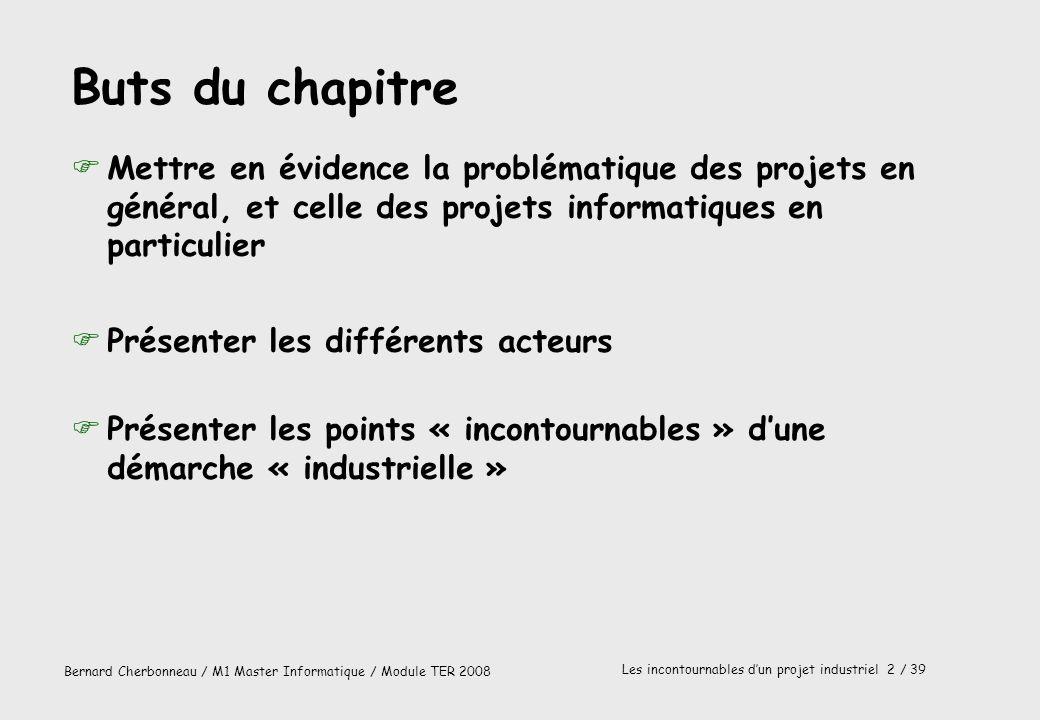 Bernard Cherbonneau / M1 Master Informatique / Module TER 2008 Les incontournables dun projet industriel 2 / 39 FMettre en évidence la problématique d