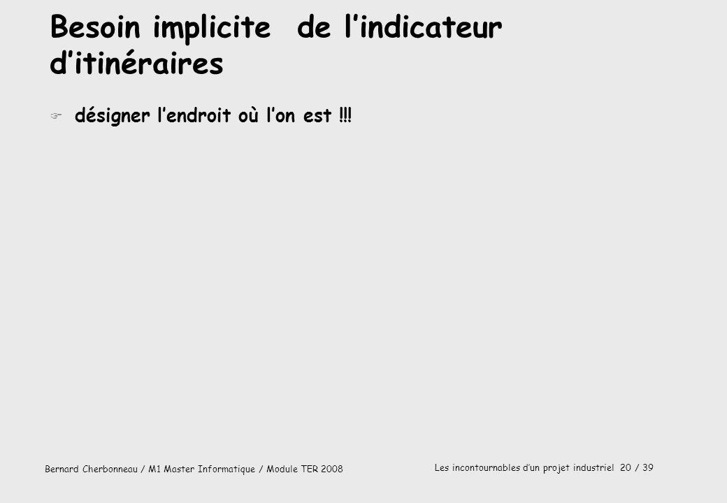 Bernard Cherbonneau / M1 Master Informatique / Module TER 2008 Les incontournables dun projet industriel 20 / 39 Besoin implicite de lindicateur ditin