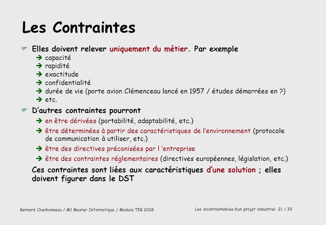 Bernard Cherbonneau / M1 Master Informatique / Module TER 2008 Les incontournables dun projet industriel 21 / 39 Les Contraintes FElles doivent releve