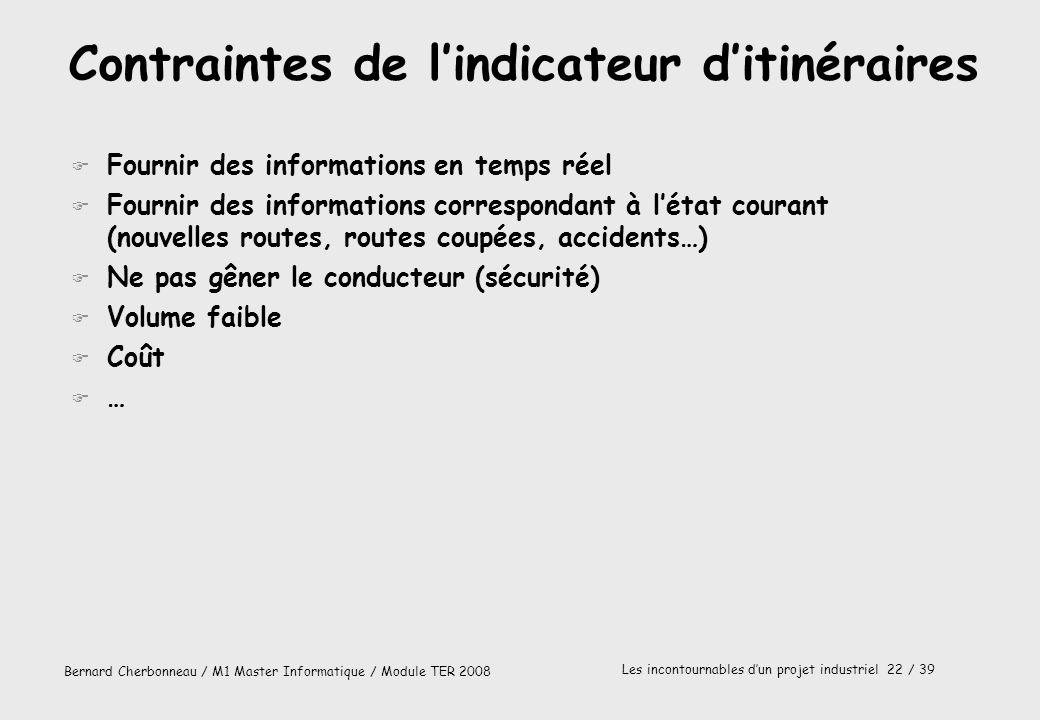 Bernard Cherbonneau / M1 Master Informatique / Module TER 2008 Les incontournables dun projet industriel 22 / 39 Contraintes de lindicateur ditinérair