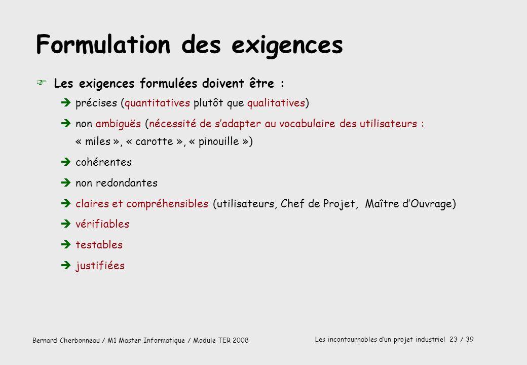 Bernard Cherbonneau / M1 Master Informatique / Module TER 2008 Les incontournables dun projet industriel 23 / 39 Formulation des exigences FLes exigen