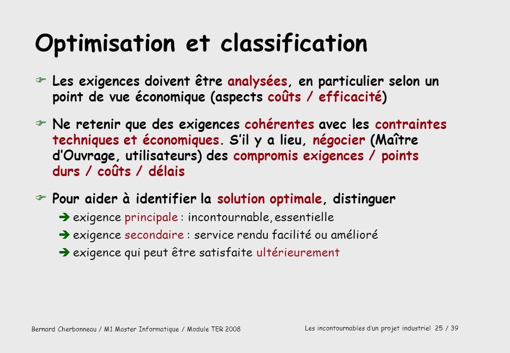 Bernard Cherbonneau / M1 Master Informatique / Module TER 2008 Les incontournables dun projet industriel 25 / 39 Optimisation et classification FLes e