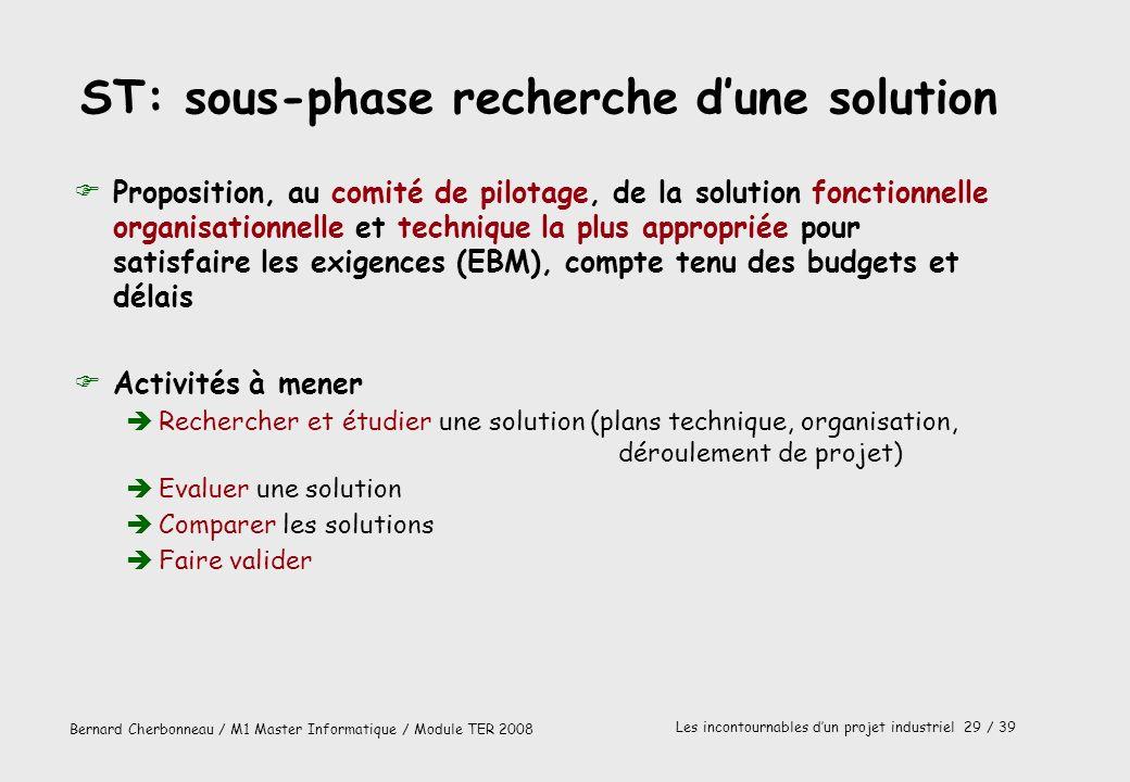 Bernard Cherbonneau / M1 Master Informatique / Module TER 2008 Les incontournables dun projet industriel 29 / 39 ST: sous-phase recherche dune solutio