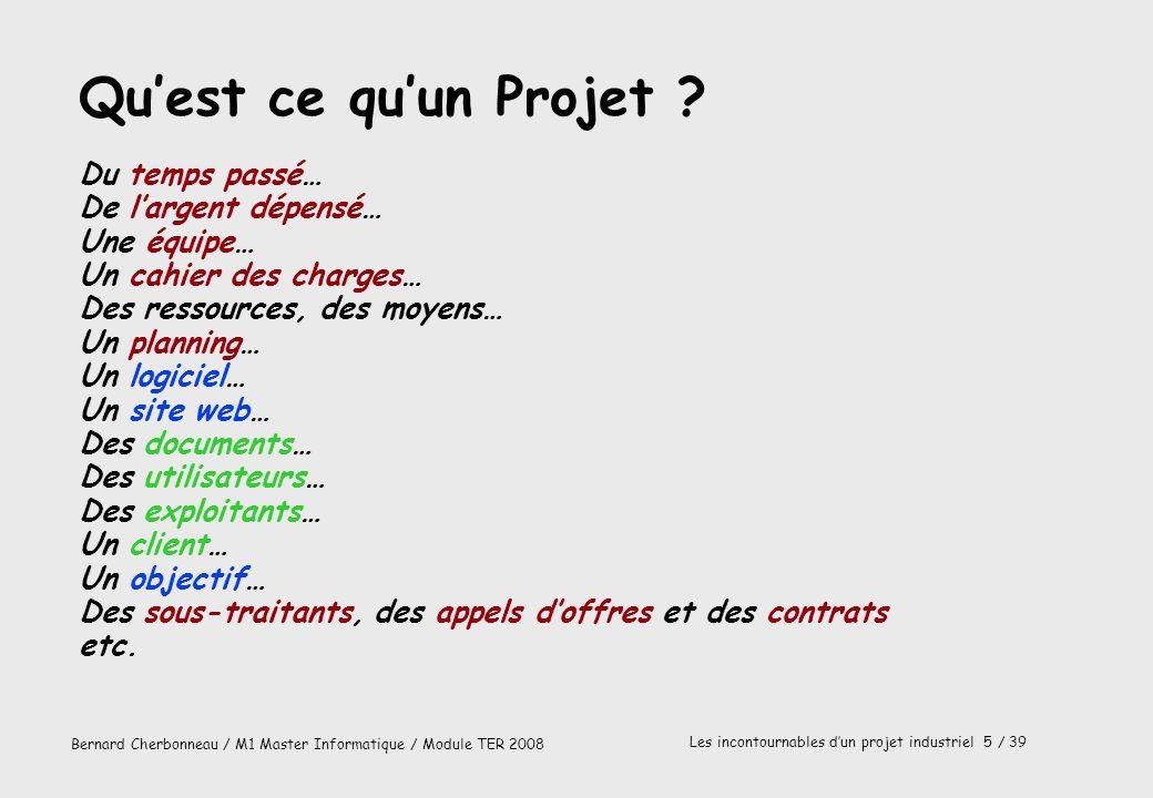 Bernard Cherbonneau / M1 Master Informatique / Module TER 2008 Les incontournables dun projet industriel 5 / 39 Quest ce quun Projet ? Du temps passé…