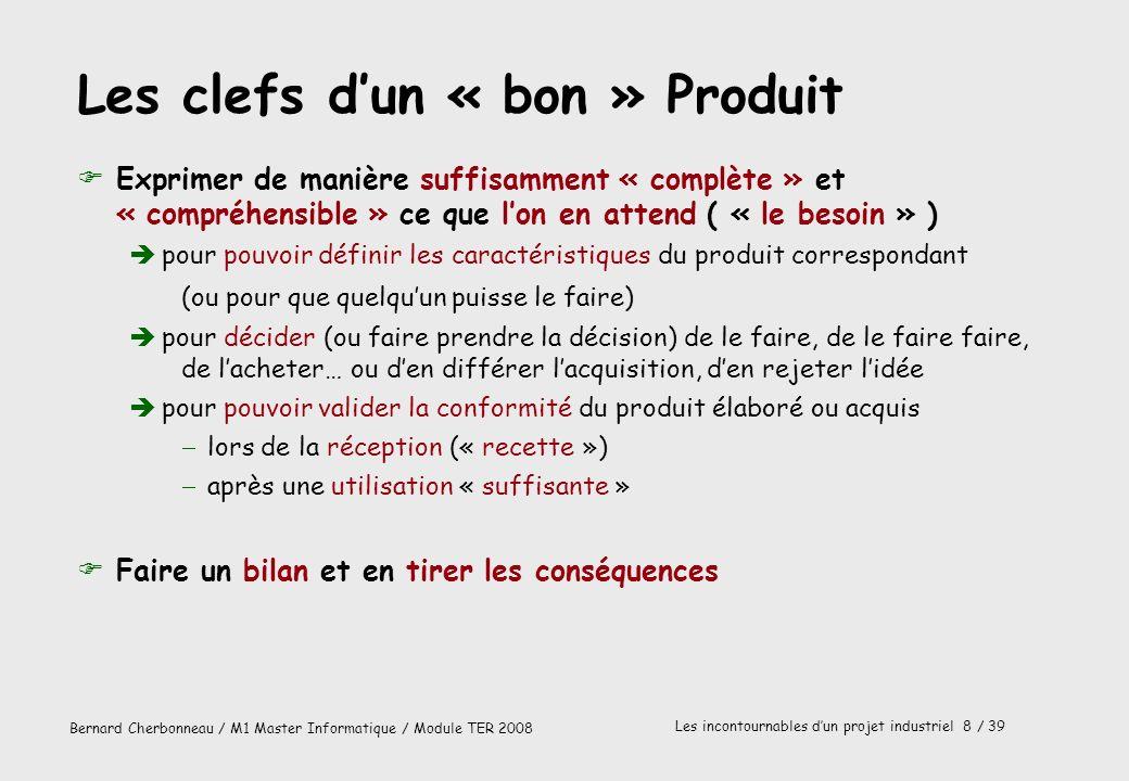 Bernard Cherbonneau / M1 Master Informatique / Module TER 2008 Les incontournables dun projet industriel 8 / 39 Les clefs dun « bon » Produit FExprime