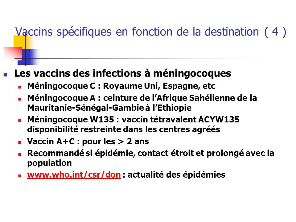 Vaccins spécifiques en fonction de la destination ( 4 ) Les vaccins des infections à méningocoques Méningocoque C : Royaume Uni, Espagne, etc Méningoc