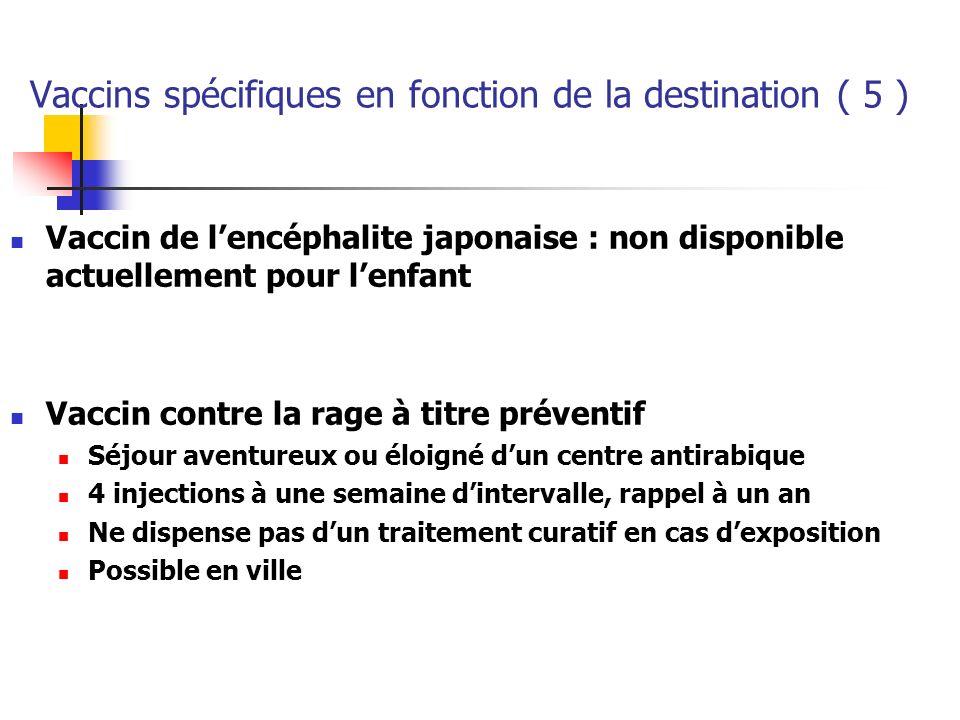 Vaccins spécifiques en fonction de la destination ( 5 ) Vaccin de lencéphalite japonaise : non disponible actuellement pour lenfant Vaccin contre la r