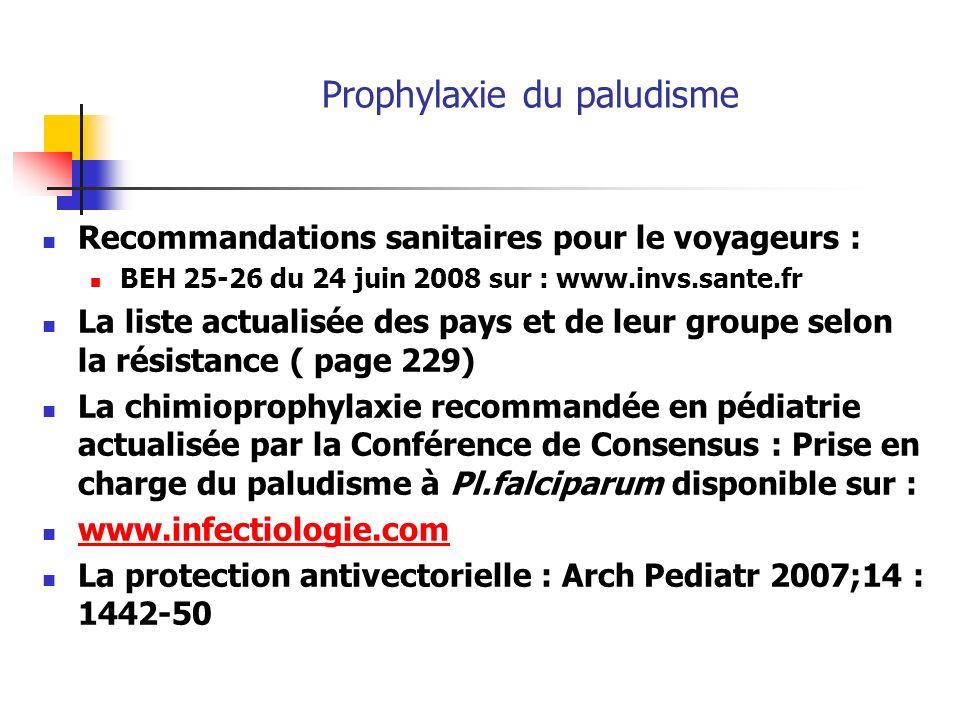 Prophylaxie du paludisme Recommandations sanitaires pour le voyageurs : BEH 25-26 du 24 juin 2008 sur : www.invs.sante.fr La liste actualisée des pays