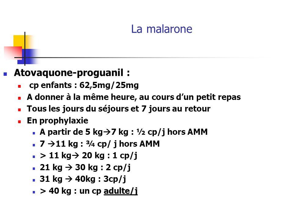 La malarone Atovaquone-proguanil : cp enfants : 62,5mg/25mg A donner à la même heure, au cours dun petit repas Tous les jours du séjours et 7 jours au