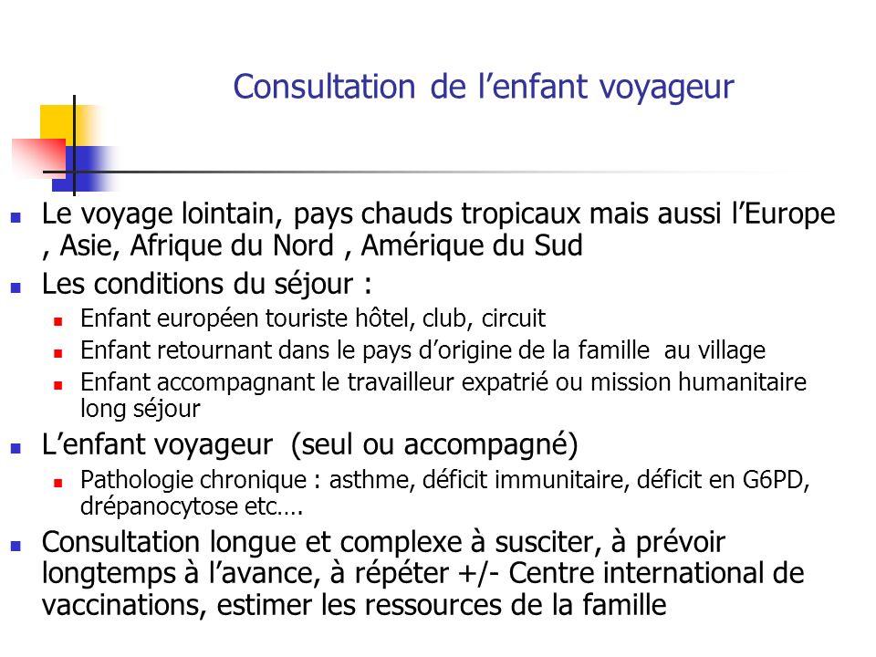 Les vaccins du voyage ( 1 ) 1 – sassurer que le calendrier vaccinal français est à jour pour lâge de lenfant, au besoin le compléter Calendrier vaccinal 2008 : BEH du 20 avril 2009 www.invs.sante.fr/BEH Prevenar : 2 +1 rappel entre 12 et 15 mois Rougeole –oreillons –rubéole : dès 9 mois pour le voyageur, 2ème dose entre 13 et 24 mois Hépatite B : 2 + 1 et rattrapage adolescents BCG : populations à risque dont enfant devant séjourner au moins un mois daffilée dans un pays de forte endémie 2 – si retard reprendre le programme où il a été interrompu et le compléter 3 – Etablir un calendrier prévisionnel des vaccins, les priorités, les intervalles entre vaccins vivants