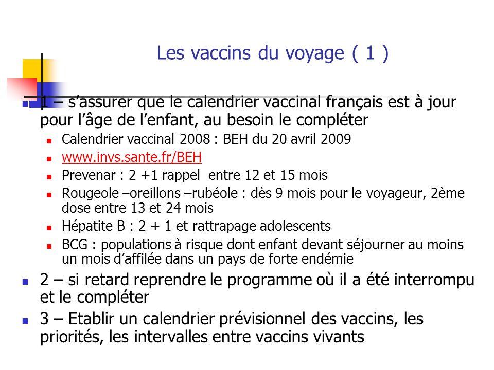 Les vaccins du voyage ( 1 ) 1 – sassurer que le calendrier vaccinal français est à jour pour lâge de lenfant, au besoin le compléter Calendrier vaccin