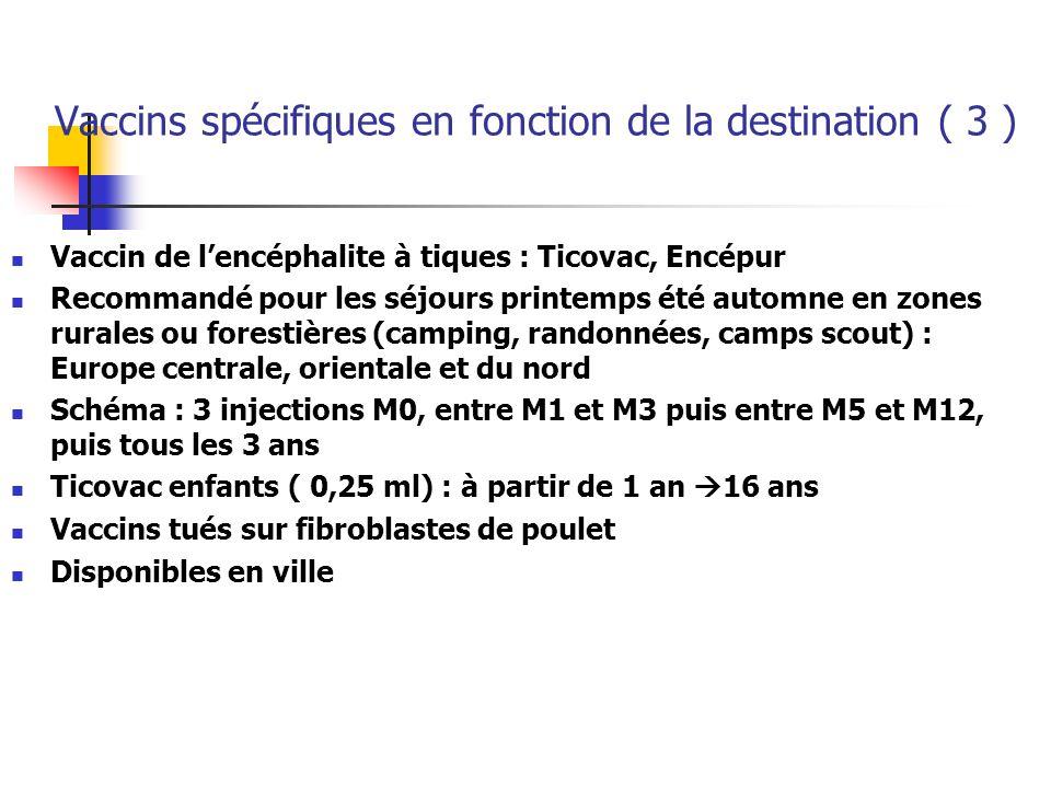 Vaccins spécifiques en fonction de la destination ( 4 ) Les vaccins des infections à méningocoques Méningocoque C : Royaume Uni, Espagne, etc Méningocoque A : ceinture de lAfrique Sahélienne de la Mauritanie-Sénégal-Gambie à lEthiopie Méningocoque W135 : vaccin tétravalent ACYW135 disponibilité restreinte dans les centres agréés Vaccin A+C : pour les > 2 ans Recommandé si épidémie, contact étroit et prolongé avec la population www.who.int/csr/don : actualité des épidémies www.who.int/csr/don
