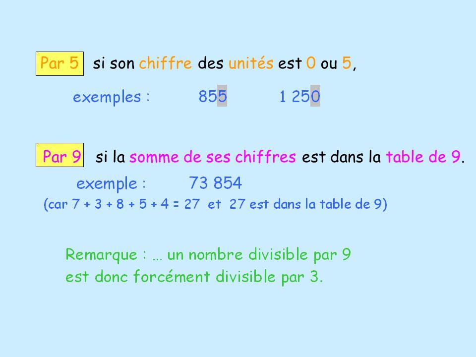 Par 5 si son chiffre des unités est 0 ou 5, Par 9 si la somme de ses chiffres est dans la table de 9.