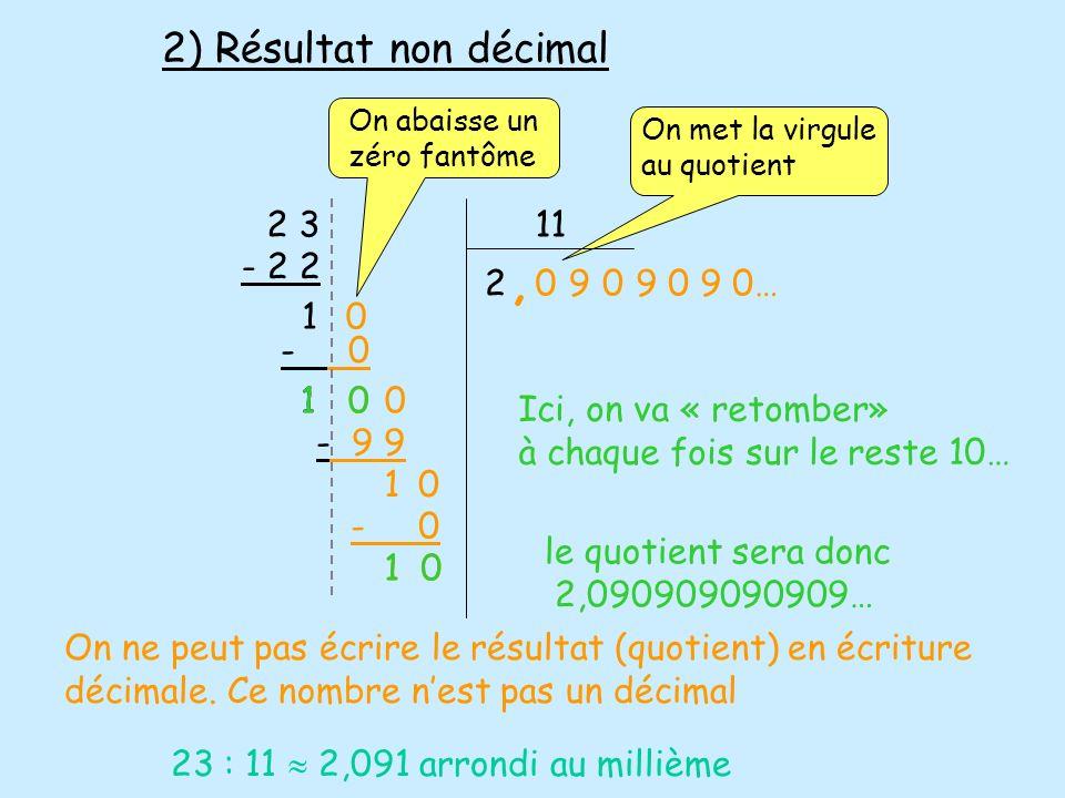 2 311 2 - 2 2 1 0, - 0 1 0 - 9 9 1 - 0 1 0 Ici, on va « retomber» à chaque fois sur le reste 10… le quotient sera donc 2,090909090909… 009 0 0 1 0 9 0