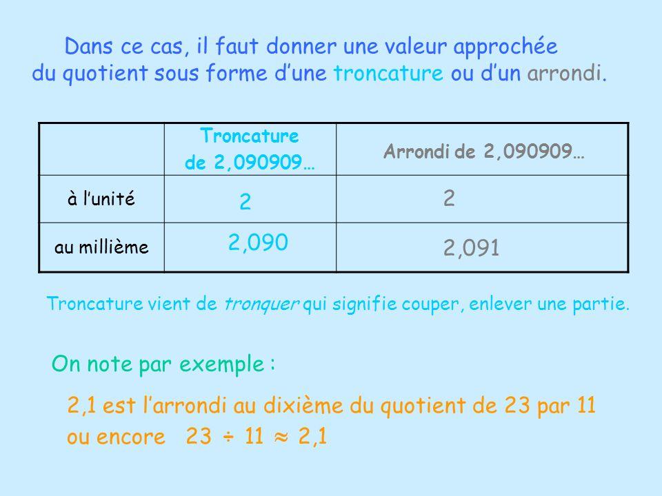 Troncature de 2,090909… Arrondi de 2,090909… à lunité au millième 2 2,090 2 2,091 Dans ce cas, il faut donner une valeur approchée du quotient sous fo