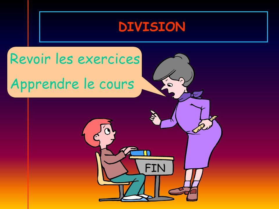 Revoir les exercices Apprendre le cours FIN DIVISION
