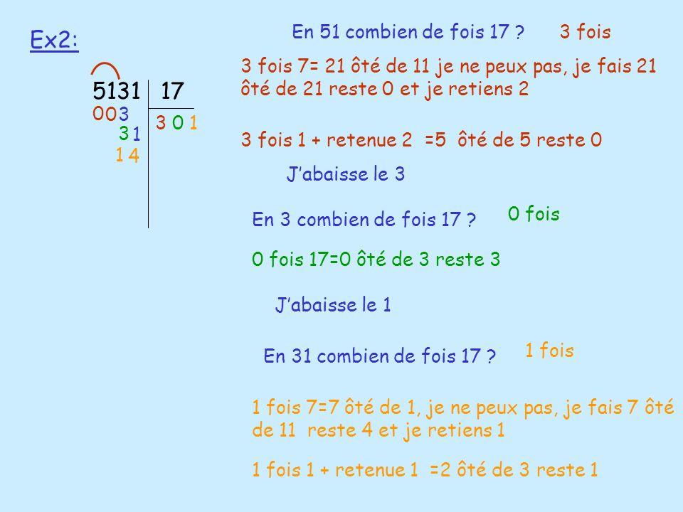 Ex2: 513117 En 51 combien de fois 17 ?3 fois 3 0 3 fois 7= 21 ôté de 11 je ne peux pas, je fais 21 ôté de 21 reste 0 et je retiens 2 Jabaisse le 3 3 E